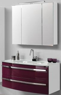 Waschplatz 111 cm Glasbecken LED Spiegelschrank Badmöbel Weiß/Brombeer *021434