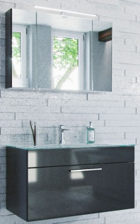 Waschplatz mit Glasbecken LED Spiegelschrank Badset 2 Teile Badmöbel-Set Heron