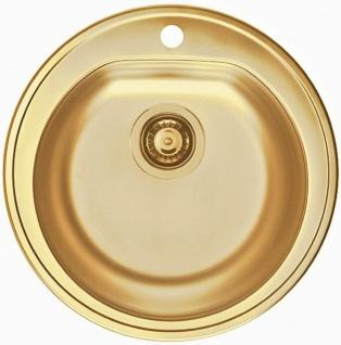 Einbauspüle Ø 51 cm Küchenspüle gold Ablauf Spülbecken rund Hahnloch *1070808