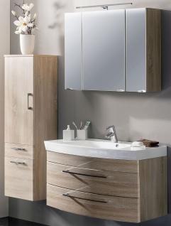 Badmöbelset RIMA 3 Teile Hochschrank Waschplatz 100 cm LED Spiegelschrank *3004