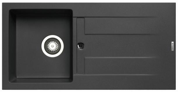 Küchenspüle 86x43, 5 cm Einbauspüle Athlos mit Hahnloch 1 Spülbecken Spüle carbon