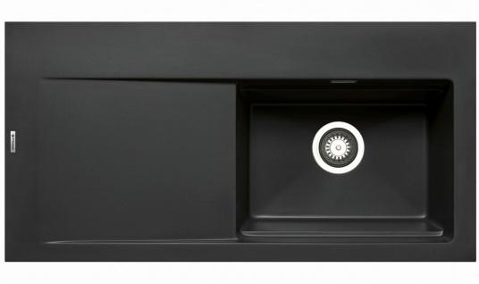 Große Einbauspüle 100x51 cm Küchenspüle Tekton Spülbecken rechts Spüle schwarz
