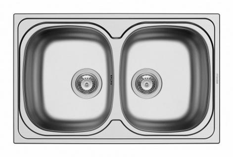 Einbauspüle 79 cm Küchenspüle Edelstahl 2 Becken Doppelbecken Spüle *100132802