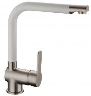 Küchenarmatur Wasserhahn DORA Einhebel Einhandmischer Edelstahloptik/Weiss *0593