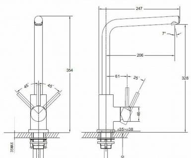Küchen Armatur Edelstahl massiv Wasserhahn 90° schwenkbar Mischbatterie *0573 - Vorschau 2