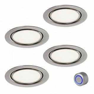 Rolux LED Einbaustrahler dimmbar 4x3 Watt Edelstahl Optik Bobby warmweiß *554102