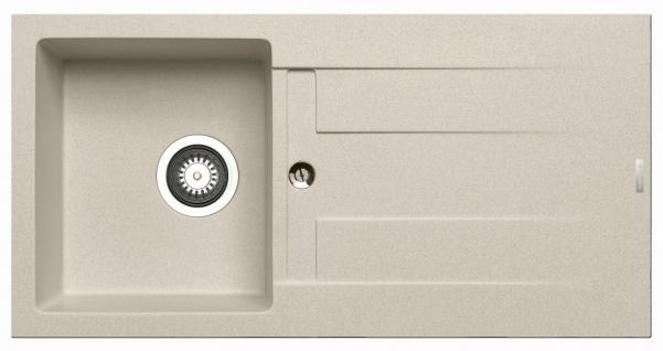 Küchenspüle 86x43, 5 cm Einbauspüle Athlos mit Hahnloch 1 Spülbecken beige Spüle