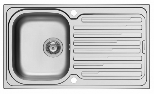 Küchenspüle 86x50 cm Einbauspüle edelstahl Amaltia Spülbecken Hahnloch Spüle