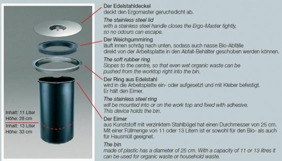 Wesco Ergomaster Mülleimer Einbau Arbeitsplatte Bioeimer 11 L Abfalleimer *47308 - Vorschau 3