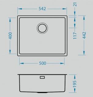 Unterbauspüle Edelstahl 54, 2 cm Küchenspüle Alveus Unterbaubecken Spüle *1102699 - Vorschau 2