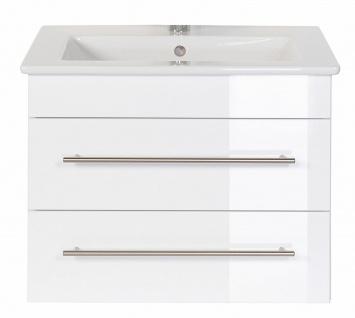 Waschtischunterschrank 86 cm mit Becken Waschbecken-Unterschrank Aurora weiß