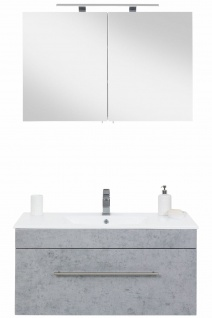 Badset VIVA 2-teilig Waschplatz 100 cm Keramikbecken LED Spiegelschrank *Vi2-216