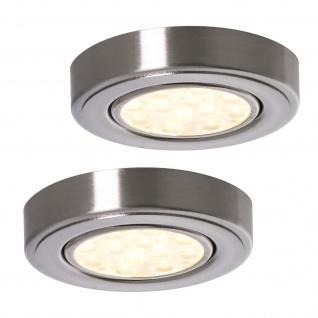 LED 2-er Set Aufbauleuchte 2 x 3 W Küchen Strahler Lampe Edelstahloptik *552245