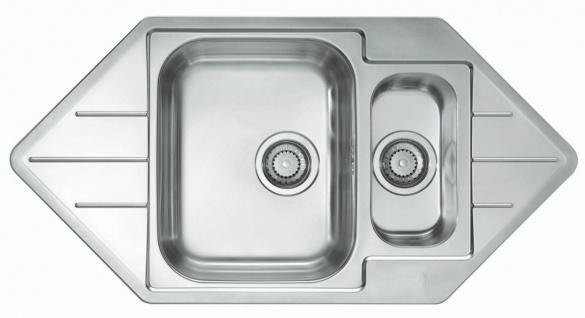 Einbauspüle Eckspüle 98, 5 cm Eckeinbau Küchenspüle Edelstahl Waschbecken 1065674