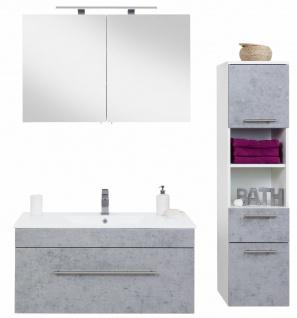 Badmöbel Set Viva Beton-Optik 3 Teile Waschtisch 100cm Spiegelschrank Waschplatz