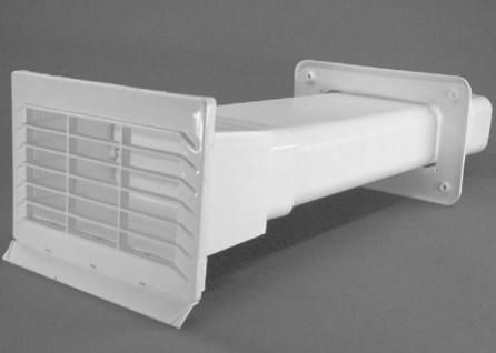 Mauerkasten Dunstabzug Flachkanal 150x70 mm Abluft Rückstauklappe weiss *50272