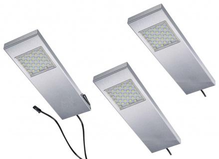 LED 3-er Set Edelstahl Küchen Unterbauleuchte 3 x 3 Watt Masterschalter *542611