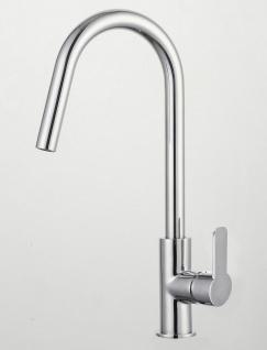 Wasserhahn Spültisch Küchenarmatur DARLING gebogener Auslauf Einhandmischer 1067