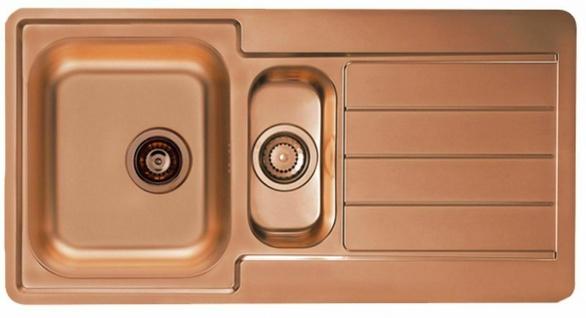 Moderne Einbauspüle kupfer 98 cm Küchenspüle Ablaufgarnitur mit Überlauf 1078567