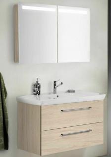Waschtisch 100 cm LED Spiegelschrank Waschplatz Porzellanbecken montiert *365534