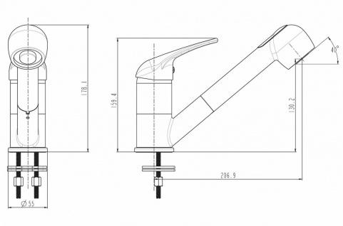 Niederdruck Küchenarmatur Waschtischarmatur Spültischarmatur mit Brause *0510 - Vorschau 2