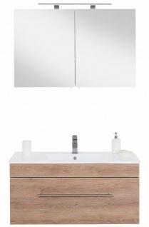 Waschplatz 100 cm LED Spiegelschrank Badset VIVA 2-teilig Keramikbecken *Vi2-214
