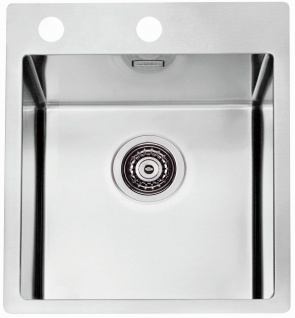 Moderne Küchenspüle Hahnloch Einbauspüle 40, 5 cm Edelstahl Spülbecken *1103607