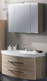 Badezimmer Möbelset 2 Teile Waschplatz 100 cm LED Spiegelschrank 90 cm *2008