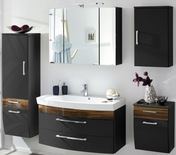 Badset 5 Teile Waschplatz 100 cm Waschtisch Badezimmer LED Spiegelschrank *5007