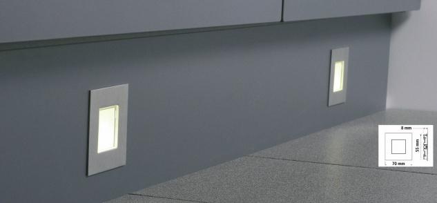 5-er Set LED Edelstahl Sockel Einbauleuchte 5 x 0, 35 W Küche Warmweiss *543441 - Vorschau 2