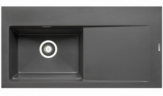 Große Einbauspüle 100x51 cm Küchenspüle Tekton Spülbecken links Spüle iron grey