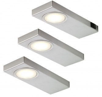 3-er Set LED Unterbau Küchenleuchte 3 x 3, 5 W Quadra Sun 3000 K Edelstahl*549245