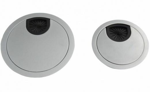 Kabeldurchlass Ø 60 - 80 mm Kabeldurchführung Schreibtisch silber Kabeldose *525