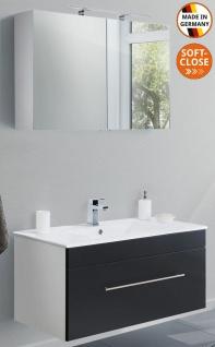 Badset Viva Waschplatz 100 cm Keramikbecken Spiegelschrank 2 Teile Badmöbelset