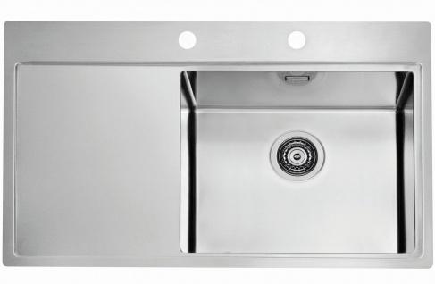 Große Einbauspüle Edelstahl 86 cm moderne Küchenspüle Spülbecken rechts *1103653
