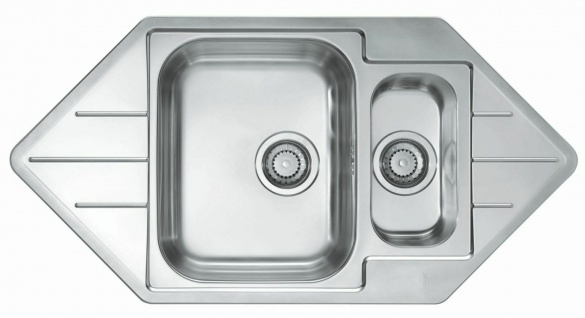 Küchenspüle Leinen Einbauspüle Eckspüle 98, 5 cm Eckeinbau Waschbecken *1085940