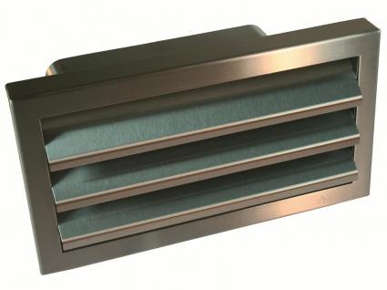 Edelstahl Außengitter mit Rückstauklappe 222x89 mm Flachkanal Abluft Küche 50569