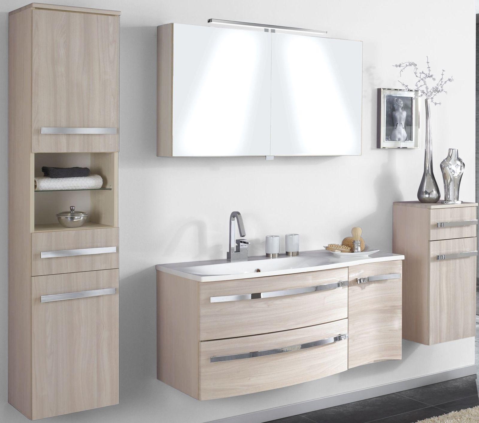 4 tlg Badset Badezimmer komplett Waschplatz 110 cm LED ...