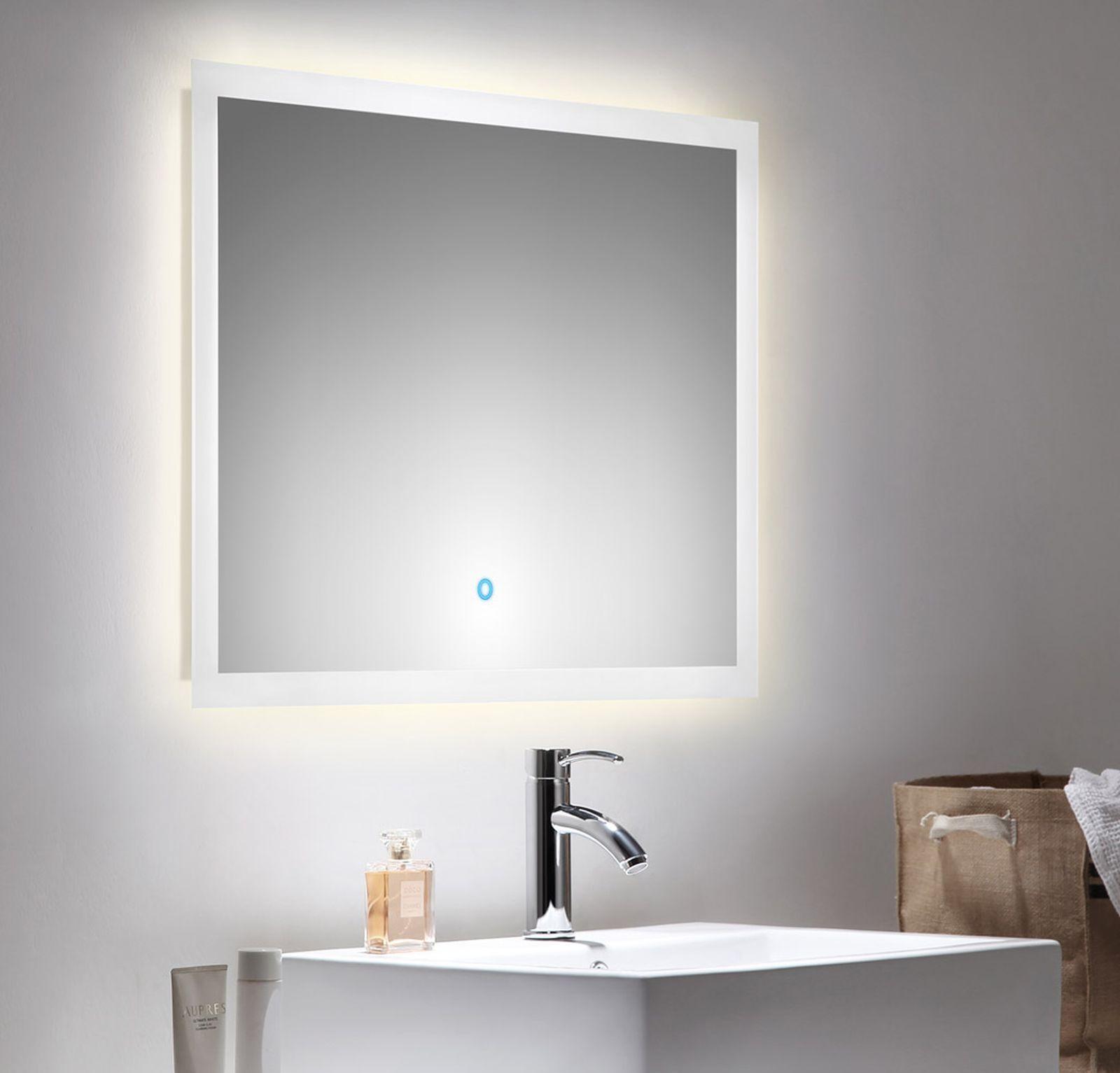 LED Badezimmer Wand Spiegel EMOTION 80 x 60 cm Touch Bedienung 34 W ...
