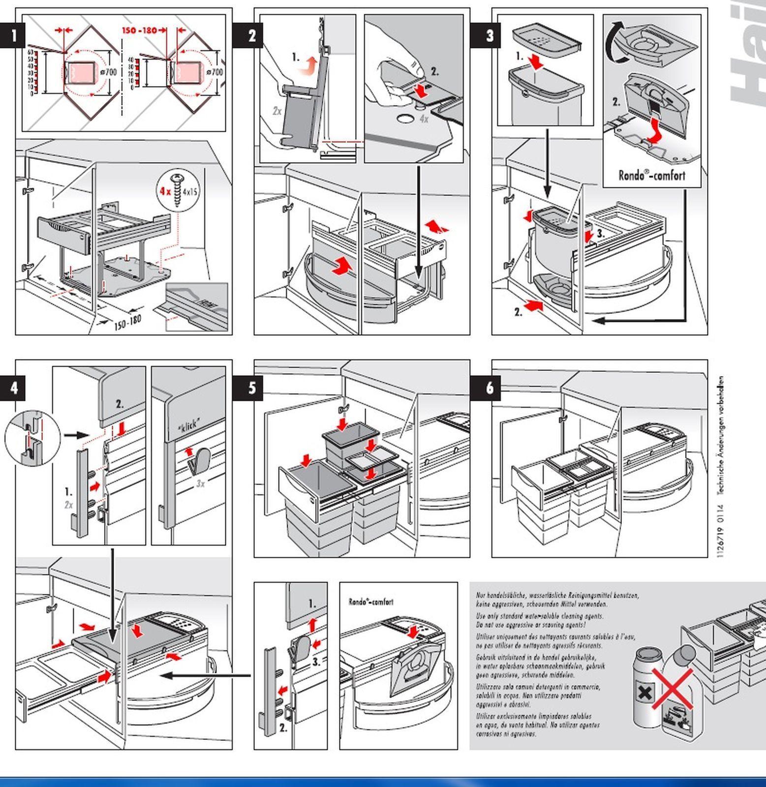 Hailo Rondo Comfort 360° Eckschrank Mülleimer Küche 50 Liter ...