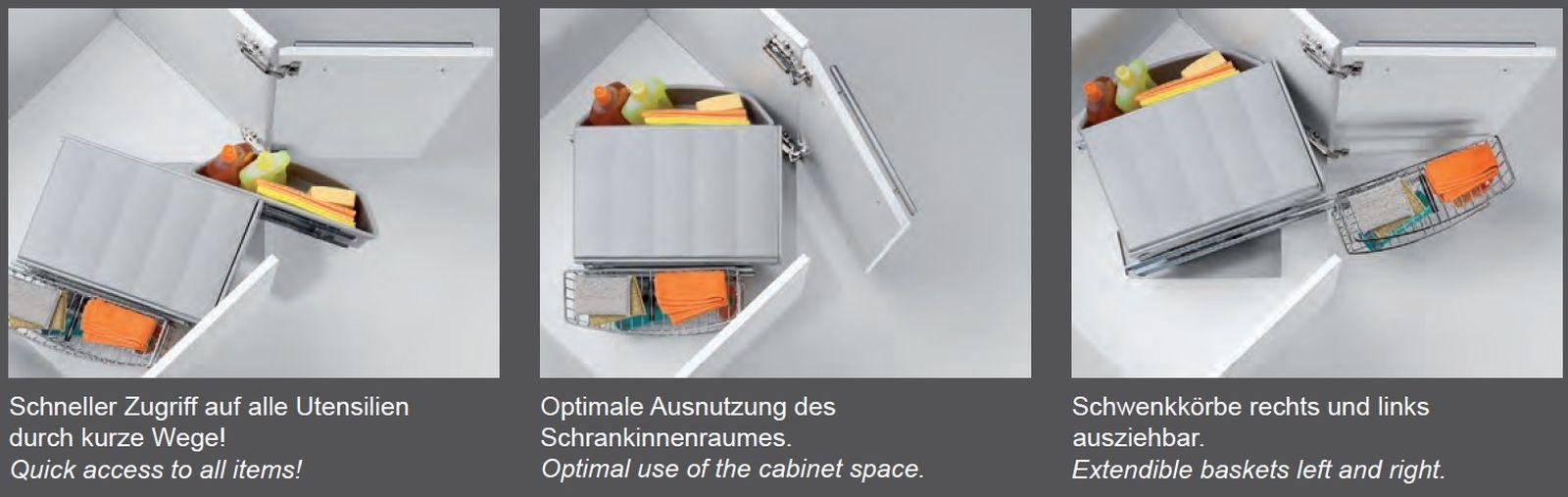 Wesco Corner Boy Mülleimer Küche 2 x 16 Liter Eckschrank Abfalleimer ...