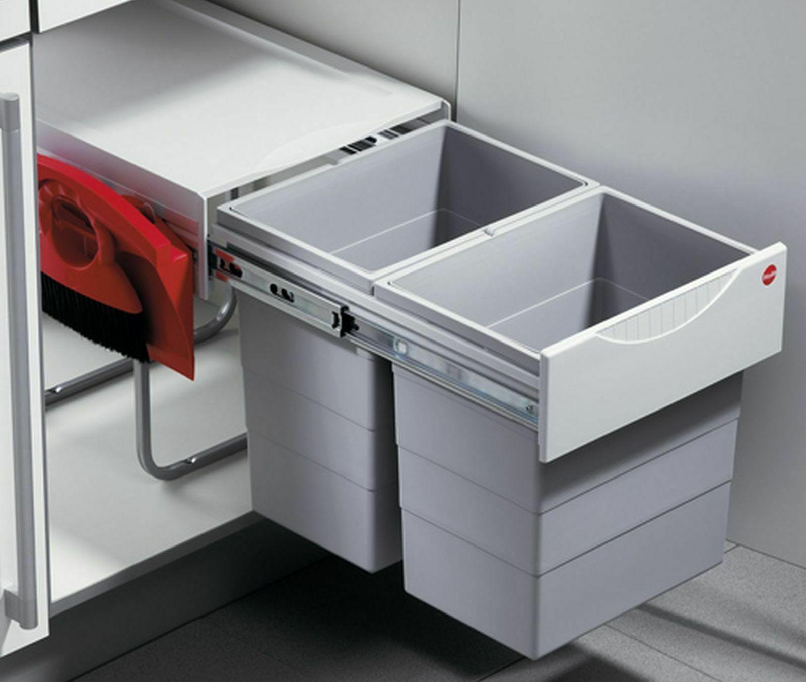 Mülleimer Küche Hailo Tandem mit Kehrset Schrank ab 40 cm Mülltrennung  *43421