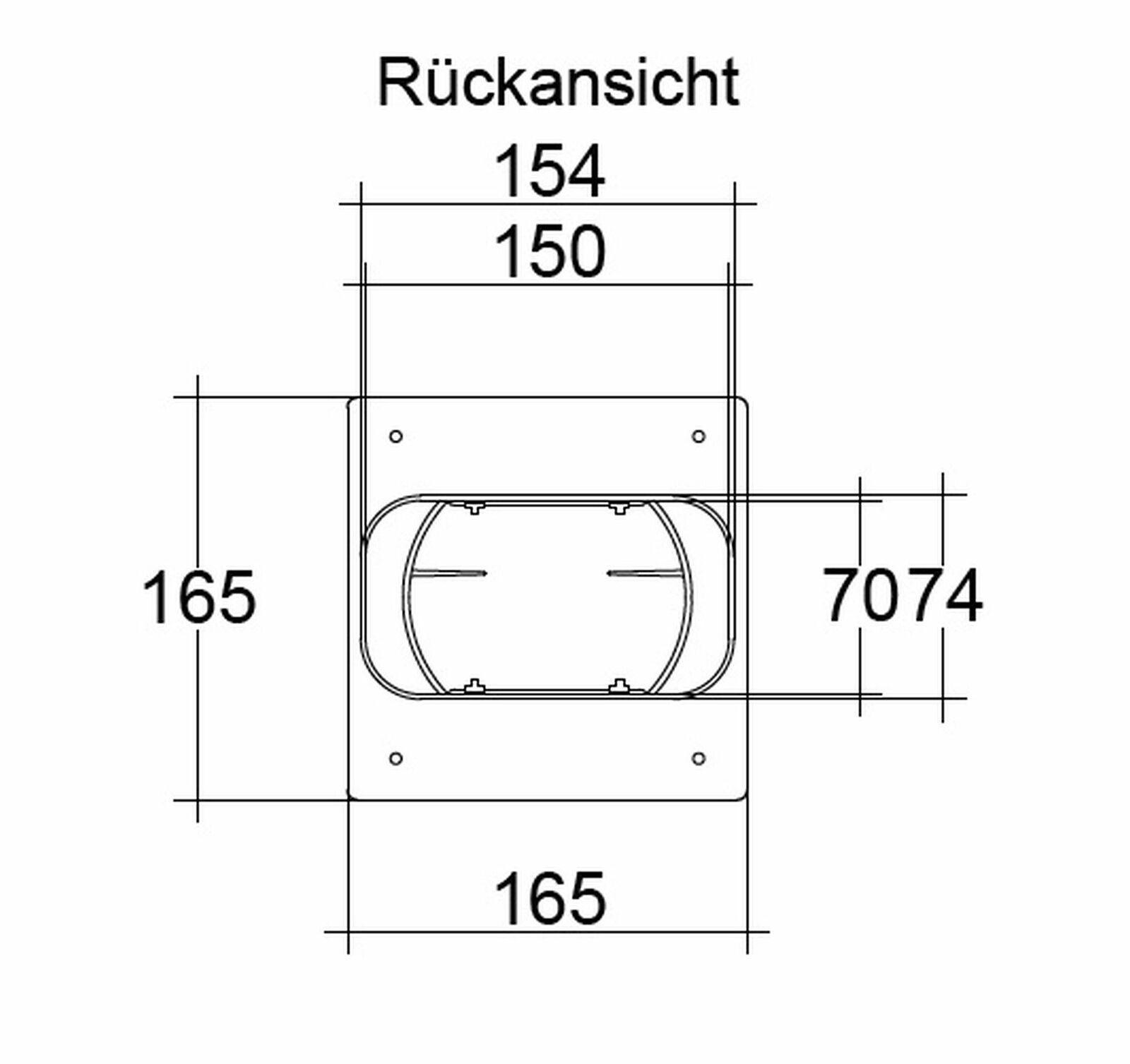 Abluft Teleskop Mauerkasten Soft 125 Flachkanal 150 x 70 mm Rückstauklappe weiss