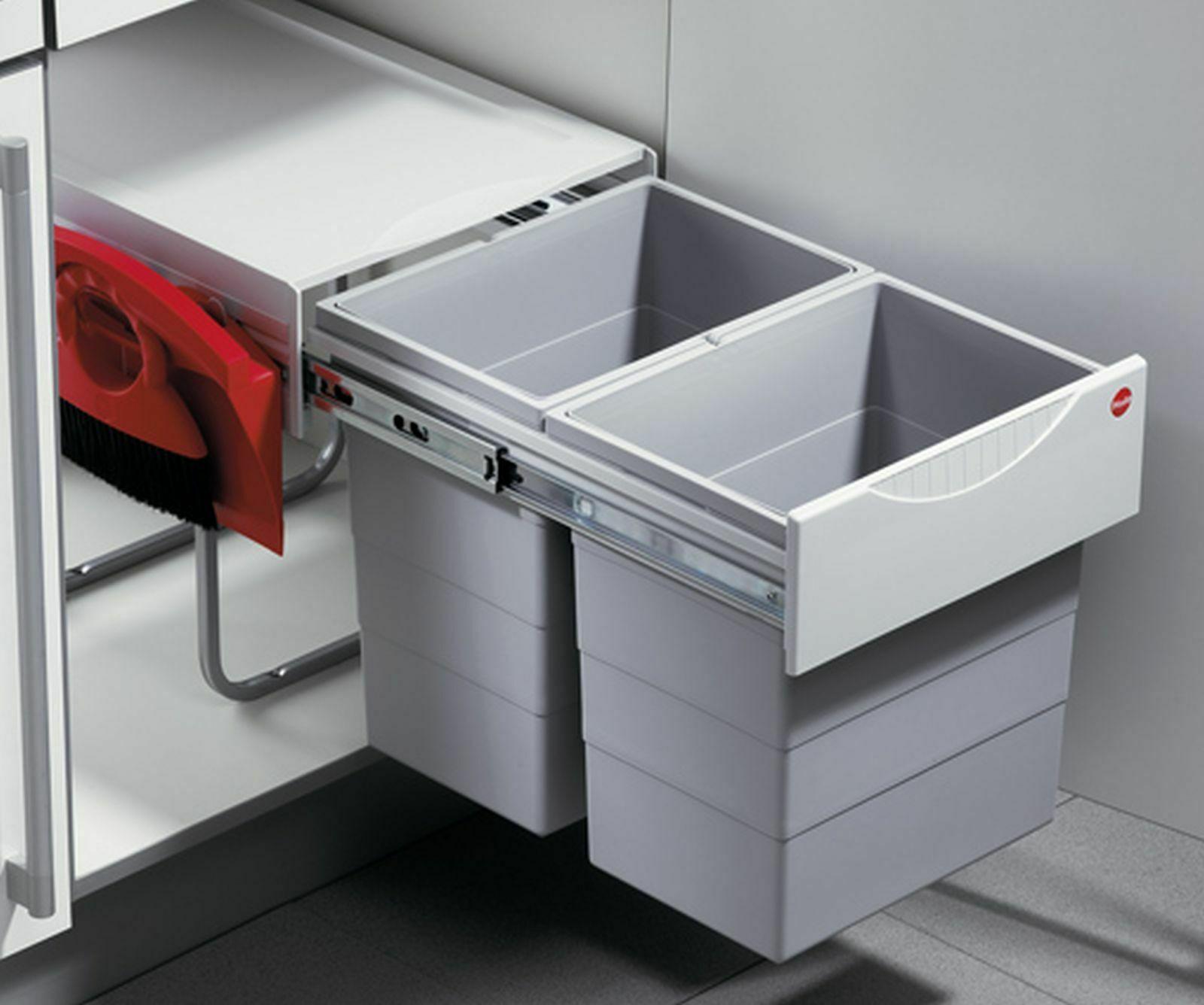 Einbau-Mülleimer Küche Hailo Abfalleimer 40L Mülltrenner Müllsammler *516599