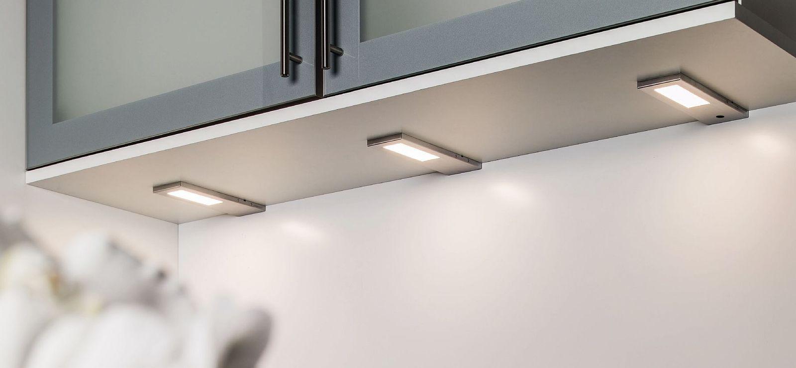 3-er Set LED Edelstahl Unterbauleuchte Küche TORRO 3 x 5, 2 W ...
