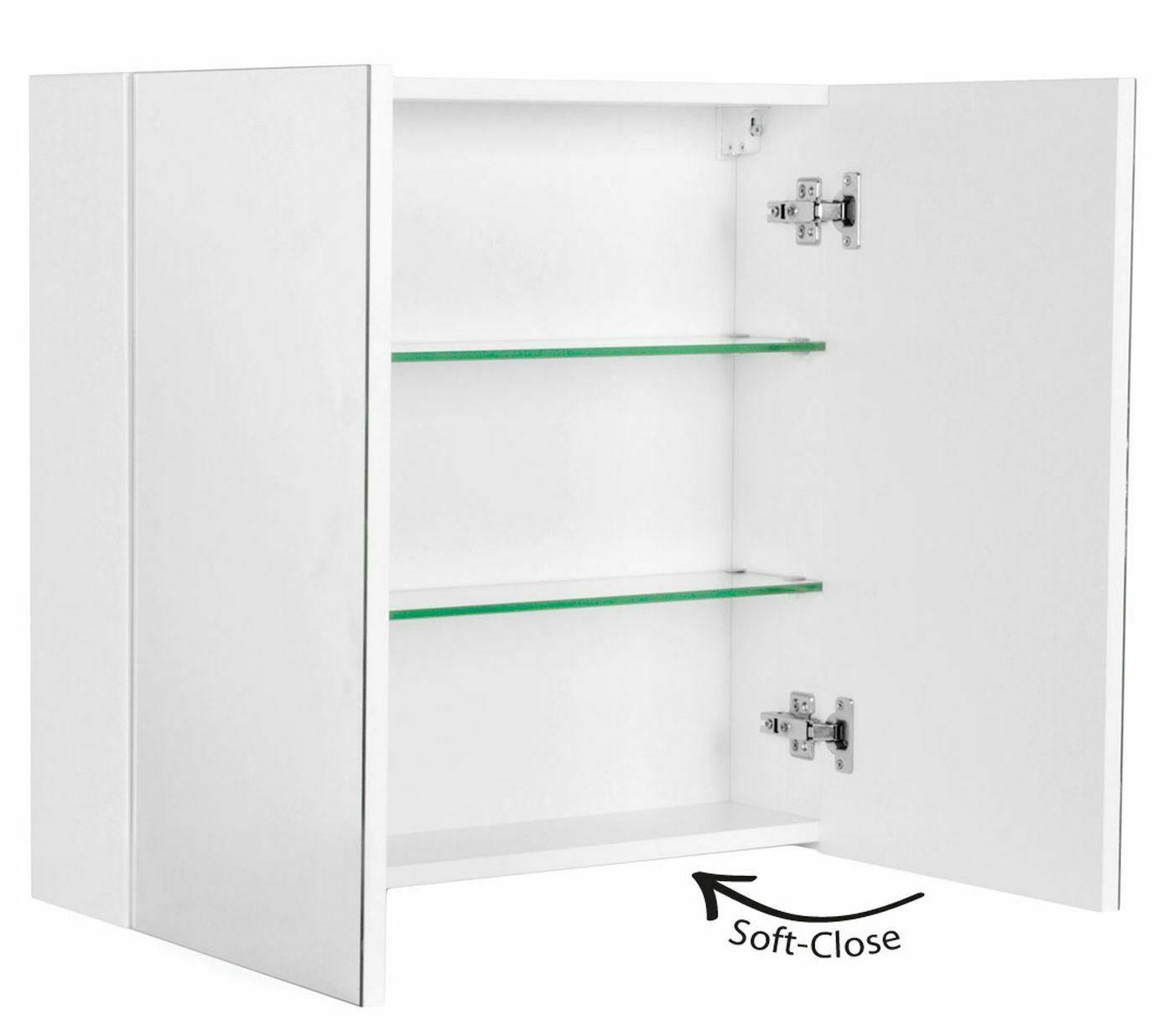 Badezimmer Spiegelschrank 75 cm CARMENTA 2 Soft-Close Türen Weiss  *CA7562-101