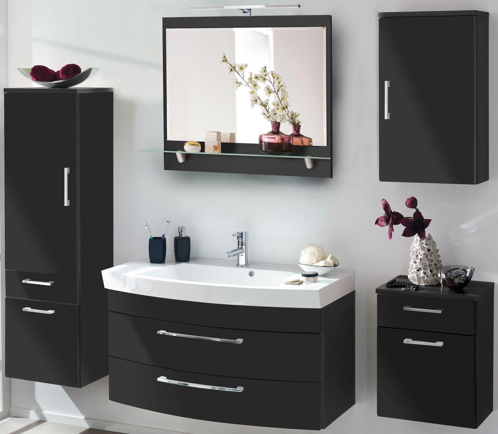 5 Teile Badset Waschtisch 100 cm Badmöbel LED Spiegel Badezimmer ...