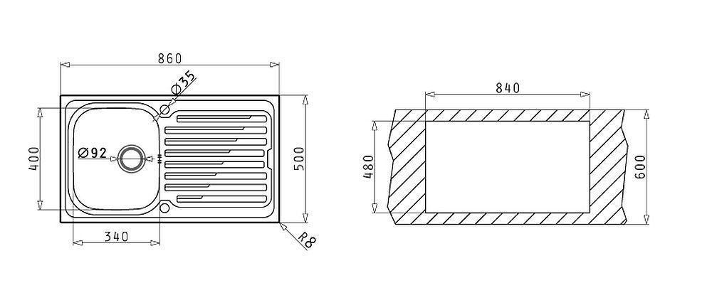 k chen einbausp le 86x50cm waschbecken edelstahl sp lbecken drehknauf 107120512 kaufen bei. Black Bedroom Furniture Sets. Home Design Ideas