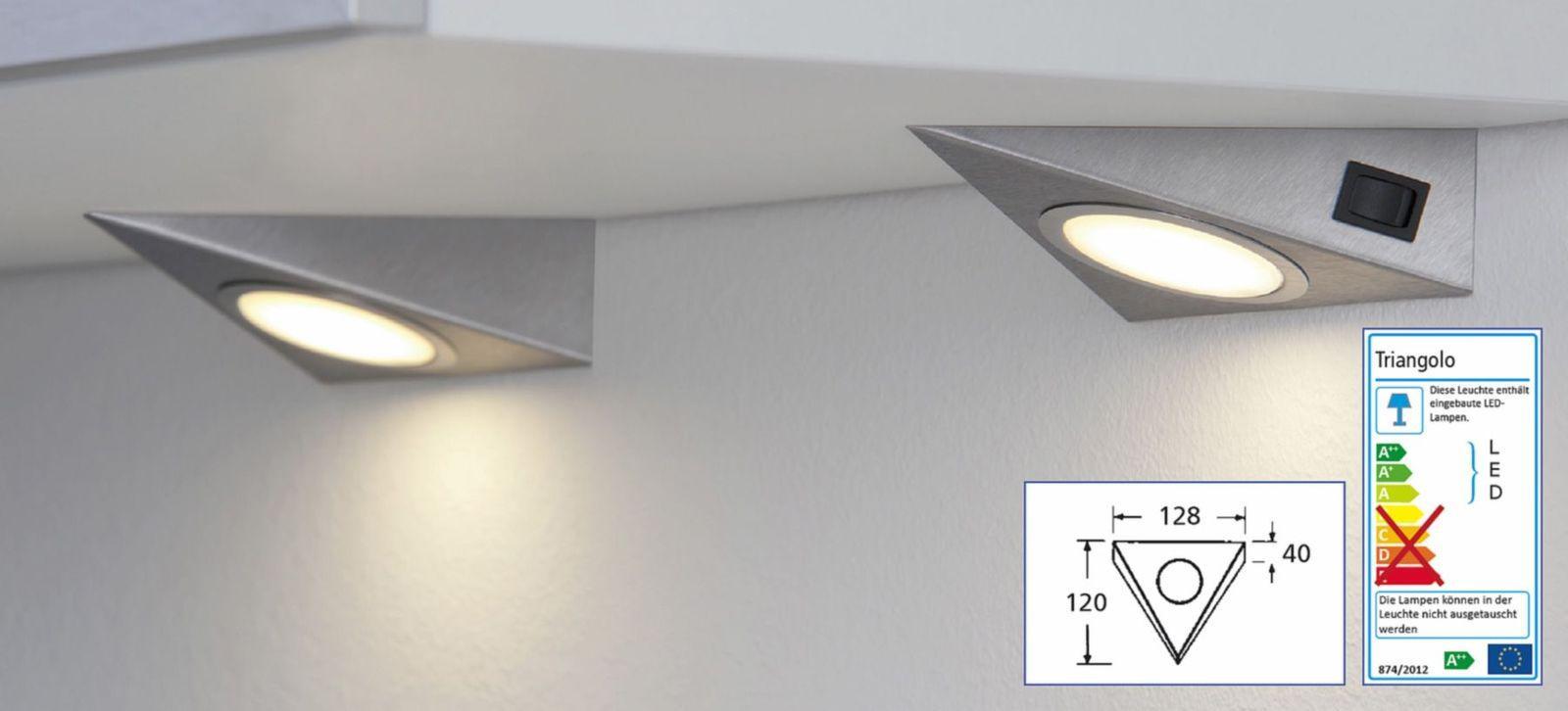 Unterbauleuchte Küche | Led 2 Er Set Kuchen Unterbauleuchte 2 X 1 3 W Dreiecklampe