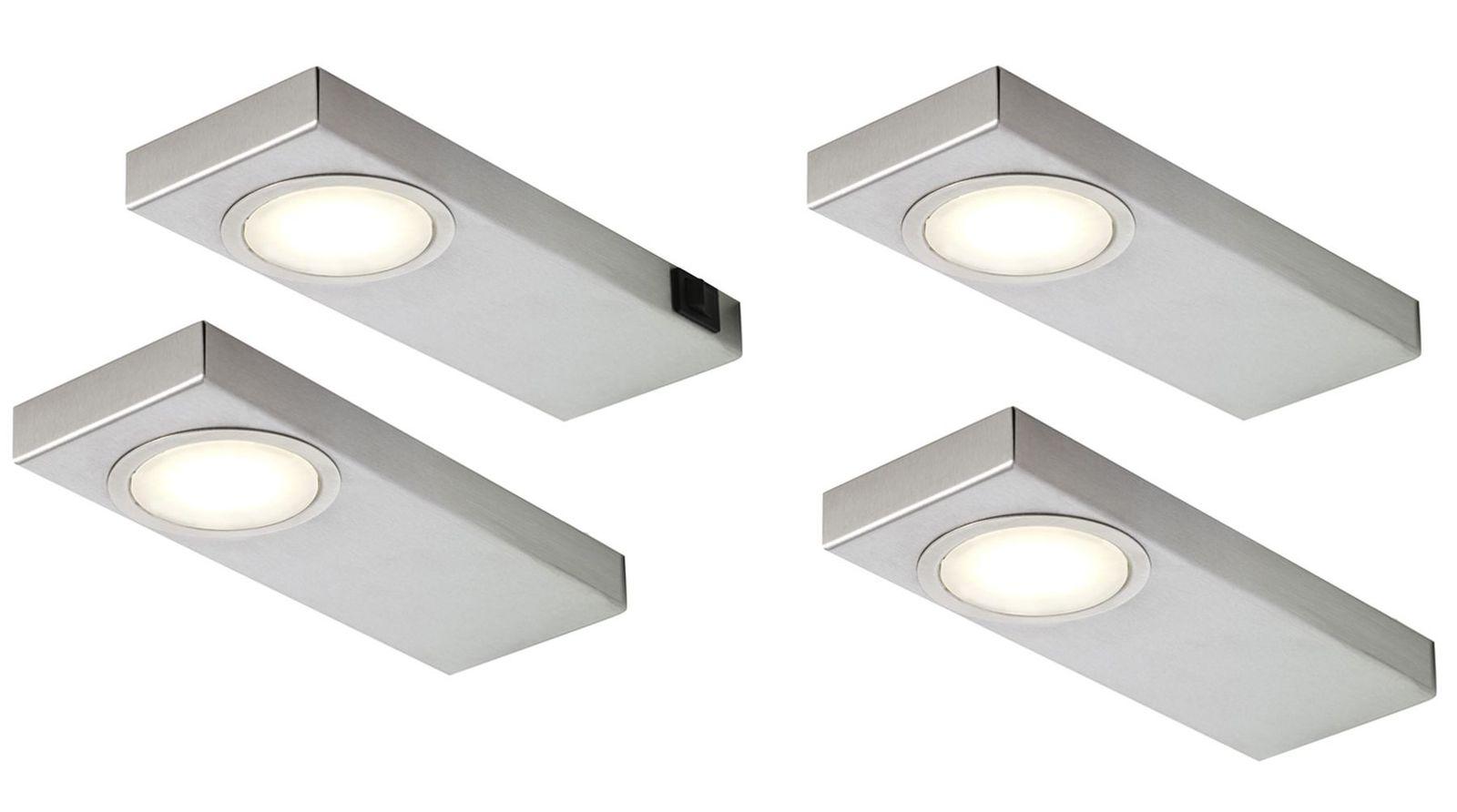 4-er Set Edelstahl LED Küchen Unterbauleuchte je 3, 5 W Warmweiss ...